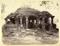 [View of a ruined temple] near Lonar